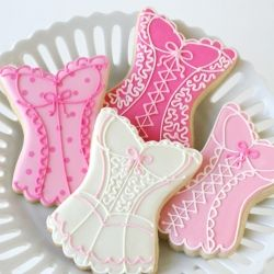 Beautiful corset cookies, as part of a Linens and Lingerie theme wedding shower.