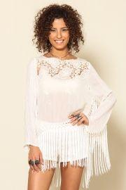 blusa manga longa com franja
