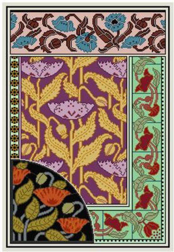 Art Nouveau Decorative Panel Cross Stitch Pattern Pdf