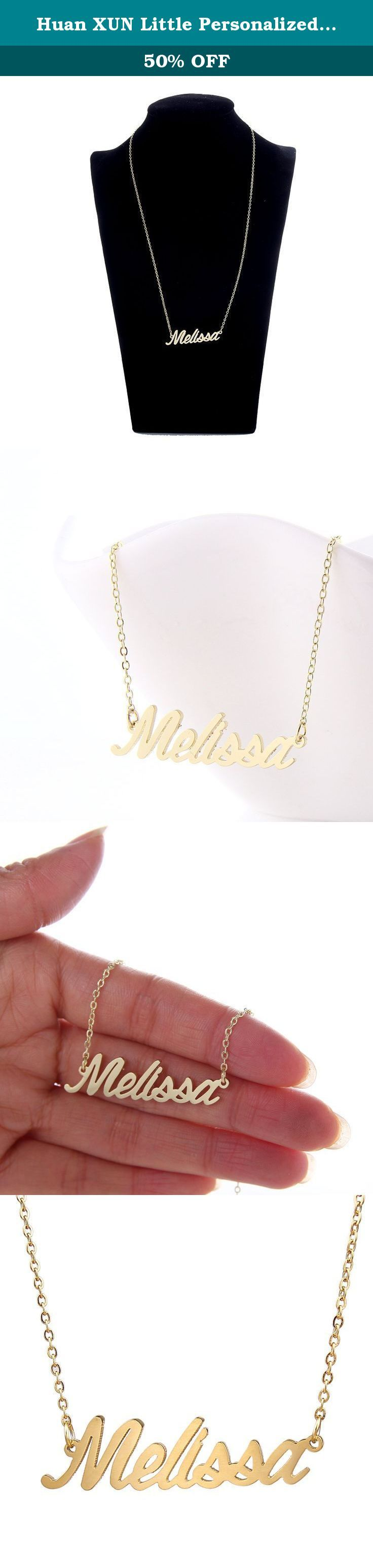 Huan XUN Little Personalized Name Necklace Melissa Mother's Day Gift. 1.Material: stainless steel, 14 K gold plated . 2.Size: chain length=40.64cm=16inches, extention chain=5.08cm=2inches. 3.Standard shipping: 10-25 business days to US, 15-35 business days to other countries. 4.Expedited Shipping: 4-7 business days to US, 5-10 business days to other countries. .