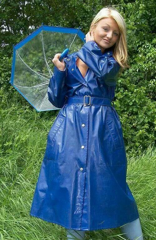 Blue Pvc Raincoat  Regensachen  Regenmantel, Mantel Und -9478
