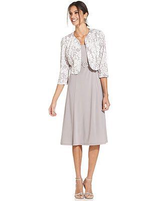 Jessica Howard Sleeveless Embellished Dress and Jacket - Macy's