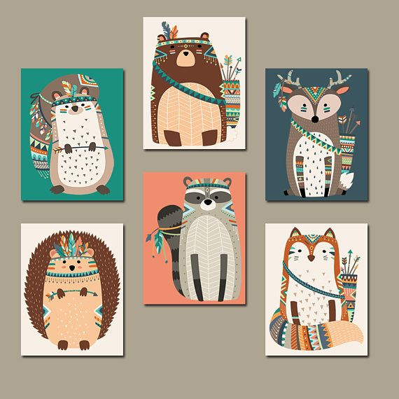 WOODLAND Nursery Wall Art Canvas or Print Tribal Animals
