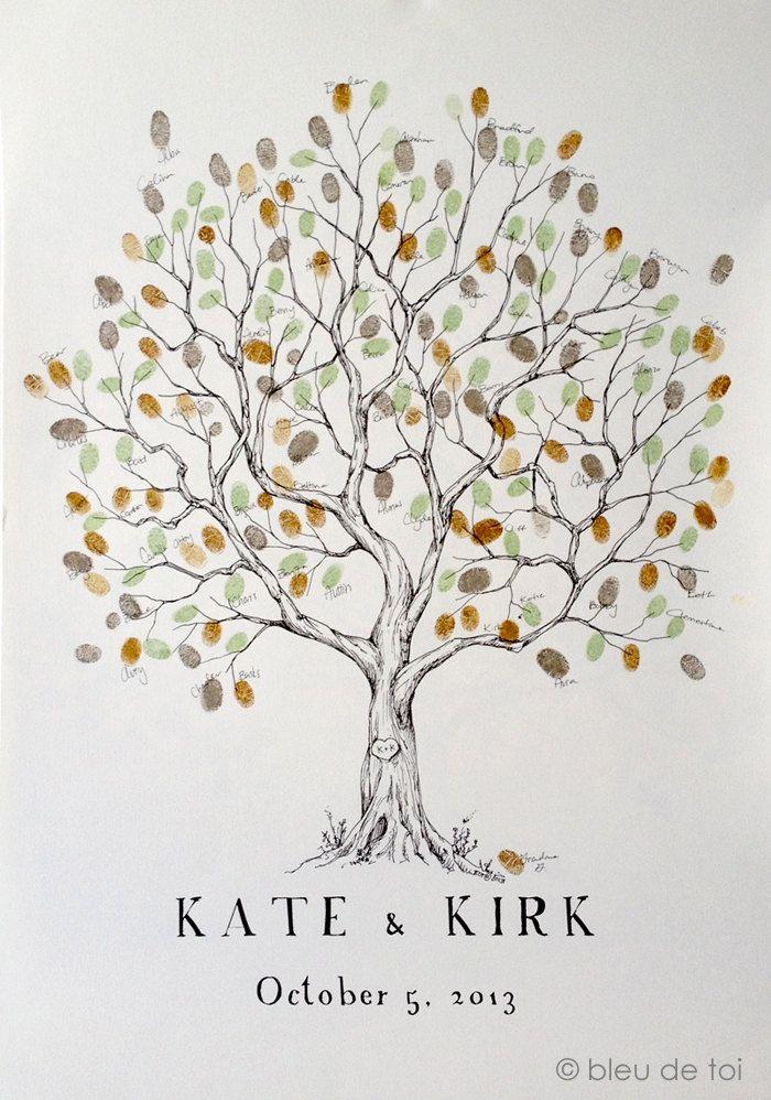 Fingerprint Tree Wedding Guest Book Alternative, Original Hand-drawn Large Olive…