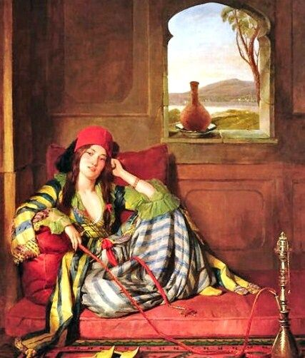"John Frederick Lewis (1804-1876), ""A Favorite of the Harem."" I love the color and fabric contrasts of this one. By period standards, this and many other Orientalist paintings of women are rather racy images--note the spread legs here, unthinkable in the painter's own British society."