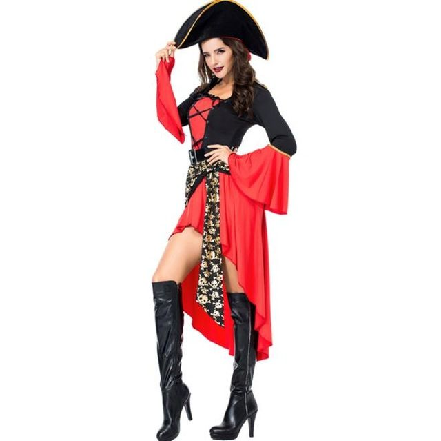 Women Pirate Costume Female Lady Full Set Hat Dress Belt NO INCLUDING BOOT  Halloween Red Cosplay 9201c60a0a86