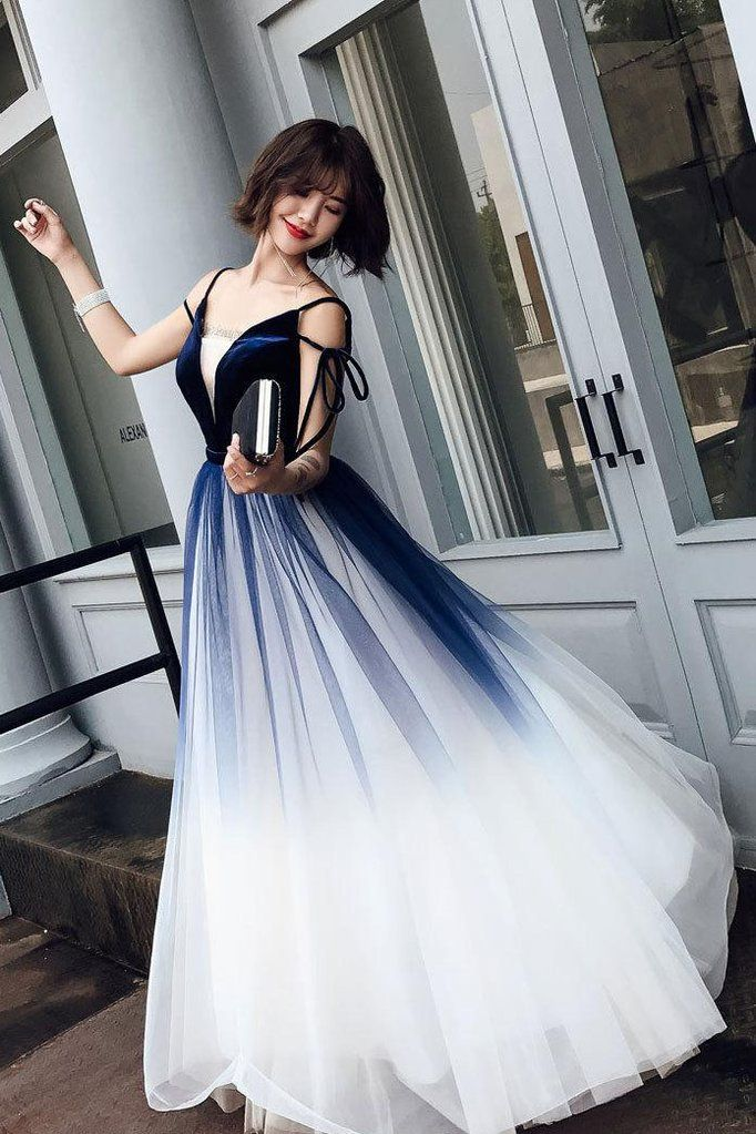 Blue Ombre Long Tulle Prom Dress, Unique V Neck Sleeveless Party Dresses, Dance Dress N1599