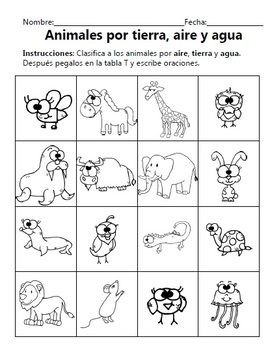 Animals Unit - Unidad sobre los Animales - Dual Language English & Spanish    This document contains:  Anchor Charts  Worksheets  T-Charts  Venn Diagrams  Of animal parts and how to classify animals.     All documents are in English and Spanish.    Documents contain PK/K lines and 1st/2nd grade lines.
