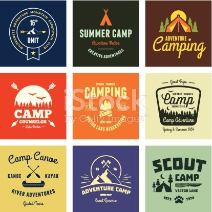 Set of retro vintage camp labels and graphics.