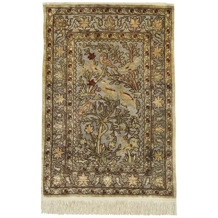 Pure Silk Rugs, Metallic Pictorial Turkish Rugs,  Hereke Carpet For Sale