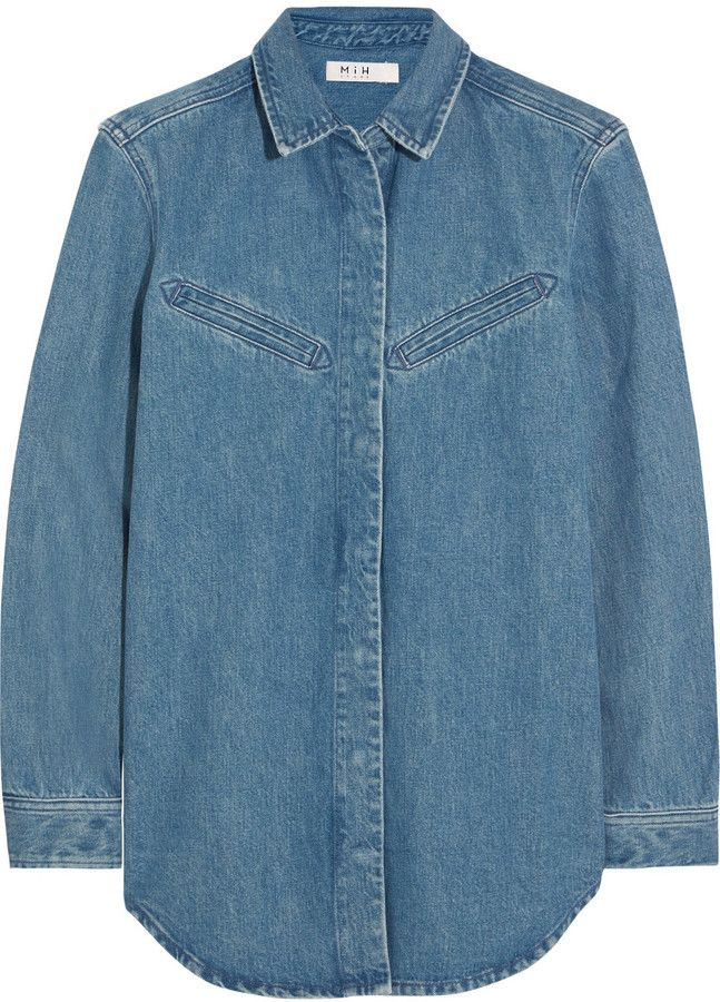 $147, MiH Jeans Oversized Denim Shirt. Sold by NET-A-PORTER.COM. Click for more info: https://lookastic.com/women/shop_items/385002/redirect
