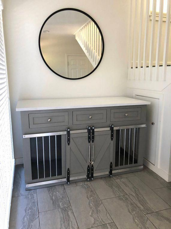 Rustic Dog Crate With Drawers Sliding Barn Doors Crate