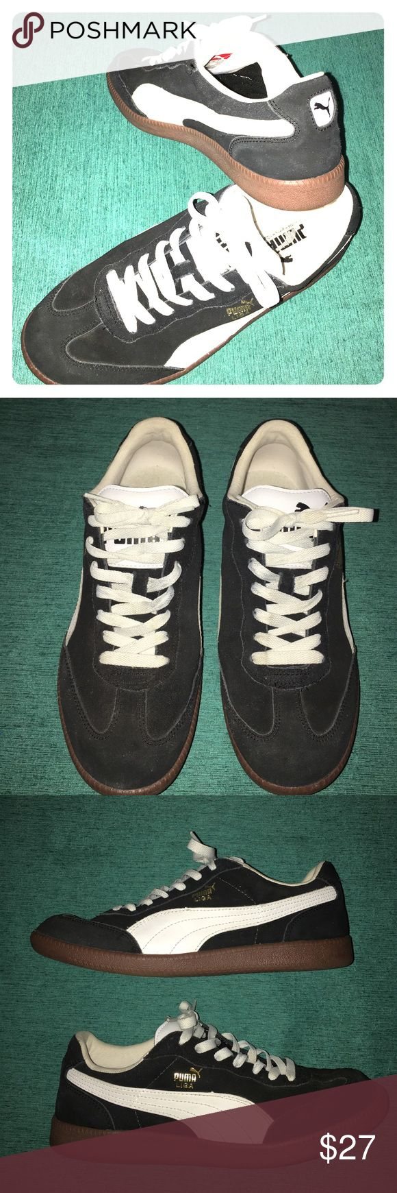 Puma Liga black & white tennis shoes size 9.5 Puma Liga black & white tennis shoes size 9.5. These shoes were well taken care of. Little wear on the shoes if you look at the bottom tread. No stains, rips or tears. Puma Shoes Sneakers