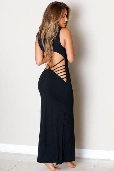 Black Hollowed Back Her Maxi Jersey Dress