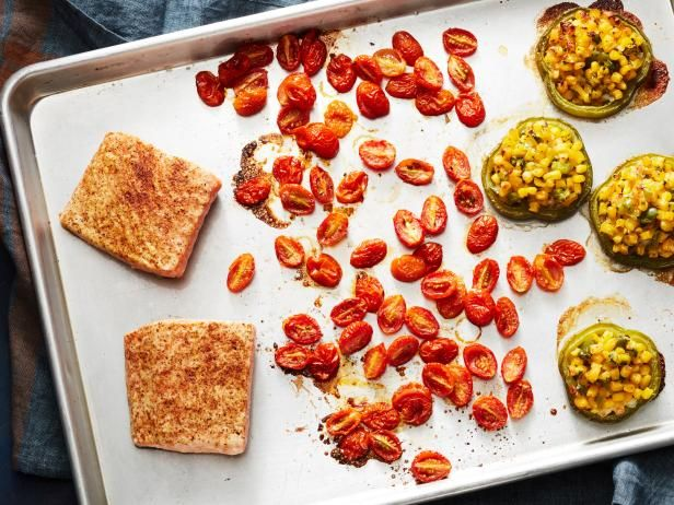 Get Healthy BBQ Salmon Sheet Pan Dinner Recipe from Food Network