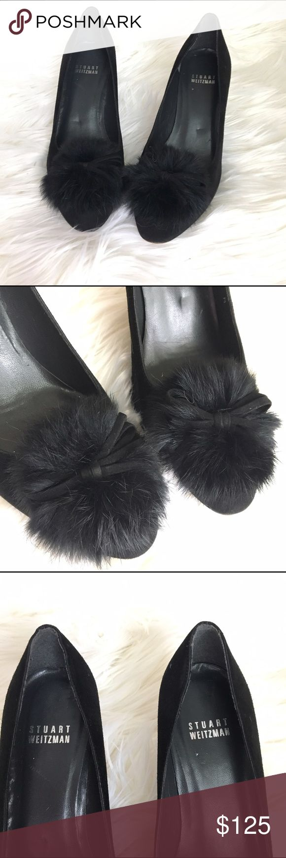 """STUART WEITZMAN furball suede pumps size 6 Gorgeous black Stuart Weitzman pumps. Genuine leather sole and suede upper. Detailed with a black fur ball and leather bow. These heels are in excellent condition with minimal signs of wear anywhere on the inner and outer shoe. Bottom sole shows normal signs of wear but nothing that can be seen while wearing. Approximate heel height is 3"""". Stuart Weitzman Shoes Heels"""