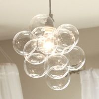 Diy The Simple Chandelier Is A Single Lamp Cord With 11 Small Glass From