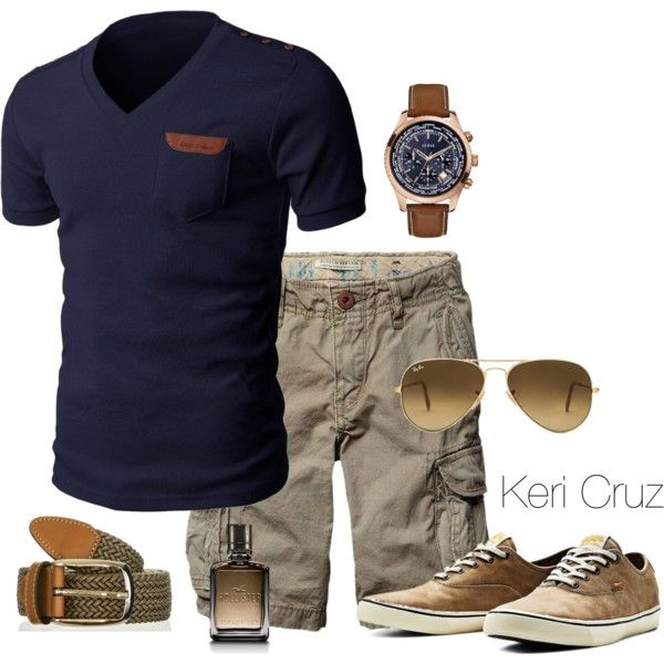 Men's Casual by keri-cruz on Polyvore featuring polyvore, fashion, style, Ray-Ban, Jack & Jones, GUESS, Hollister Co. and Scotch & Soda