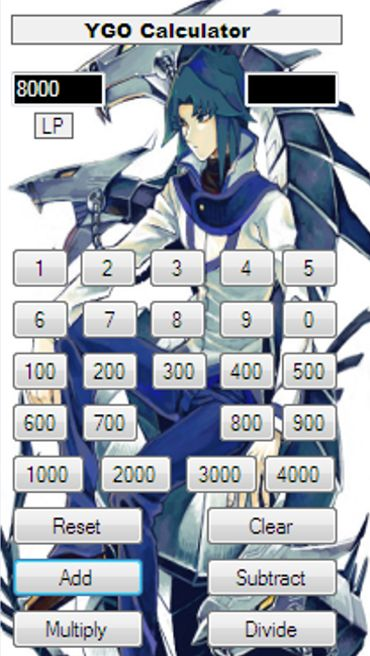 YGO Calculator (Android 2.2).   A Simple Calculator For Use With The Popular Yu-Gi-Oh! Trading Card Game. It Makes Calculating Life Points Easier And Fun. It Includes Sounds From The Anime. It Has A Cool Background Image. It's Easy To Use.