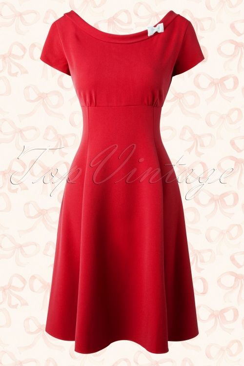 Hulahup ~ 50s Miriam Bow Swing Dress in Red