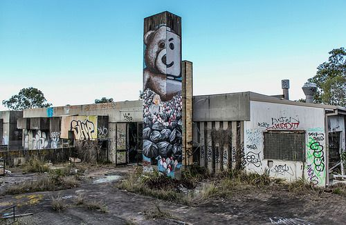 This large concrete wall, had an amazing Fintan Magee mural on it and stood many meters high.