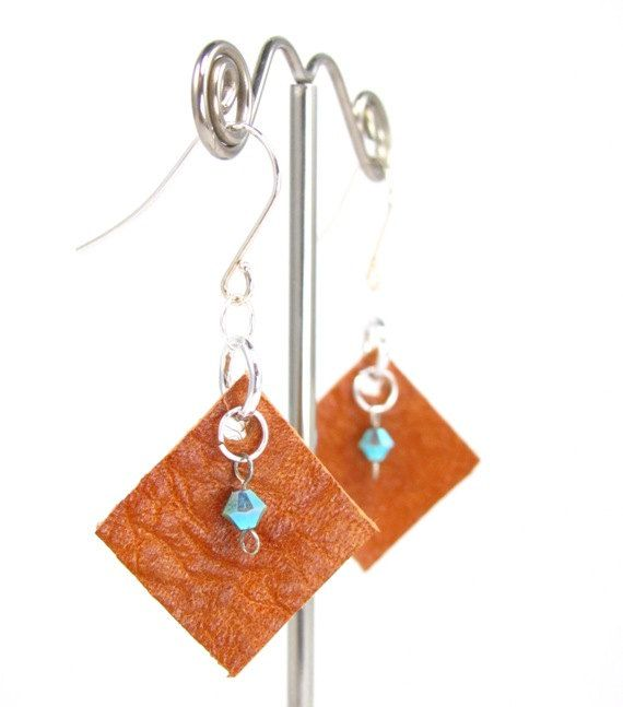 Recycled leather earrings by EmbellishByMichelle on Etsy, $10.00
