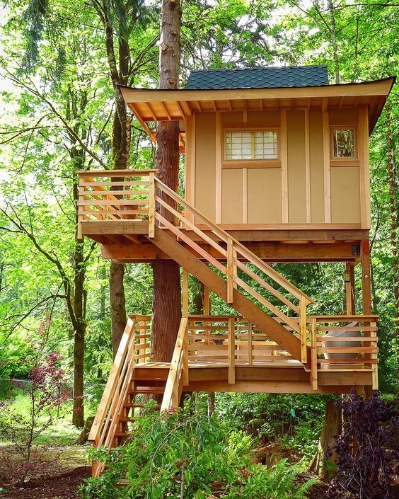 Amazing Concrete House Plan For A Rustic Forest Home In: 4303 Best Treehouses Et Cabanes Dans Les Arbres Images On