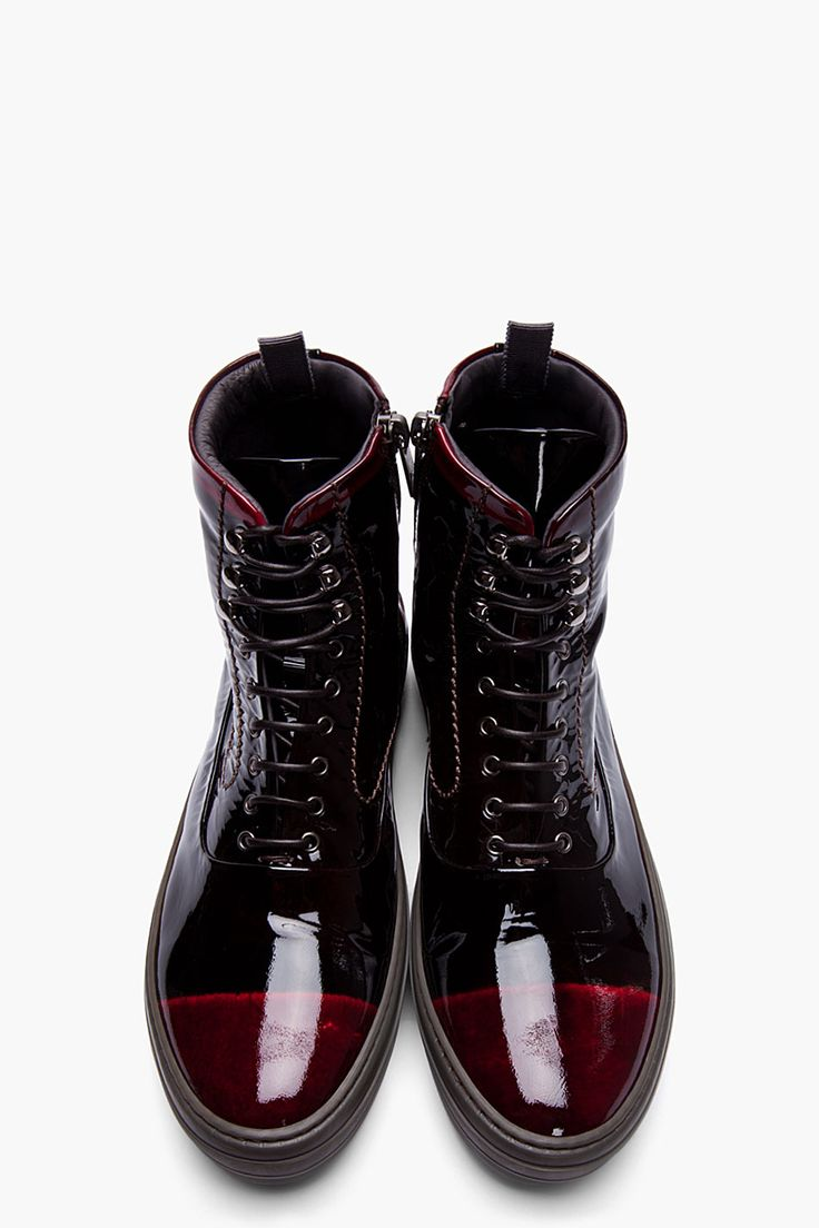 ALEXANDER MCQUEEN Black & Burgundy Patent Leather High Top Sneakers
