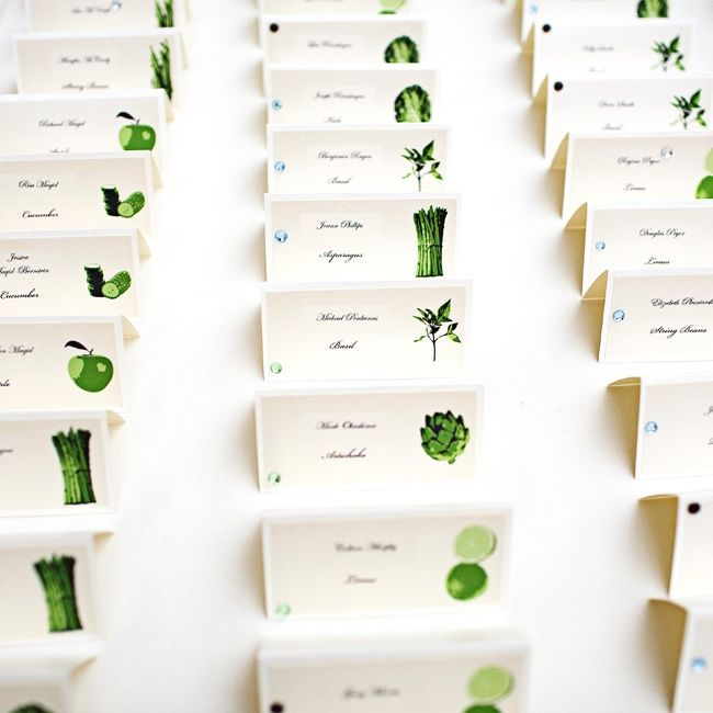White & Green Escort Cards // photo: Meg Perotti // More: http://www.theknot.com/weddings/album/a-fresh-green-wedding-in-san-jose-ca-112123