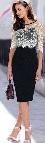 Fashion black lace splice long sleeve design women's slim dress