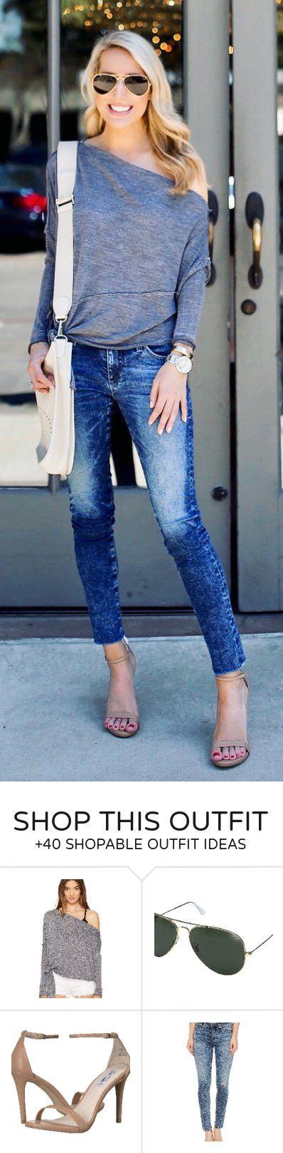 #summer #outfits  Grey One Shoulder Top + Navy Skinny Jeans + Nude Sandals + White Shoulder Bag