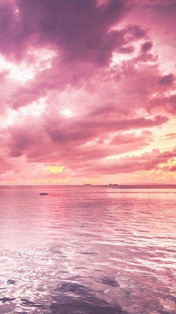 분홍색 바다. #pink #pink_sea #pink_cloud