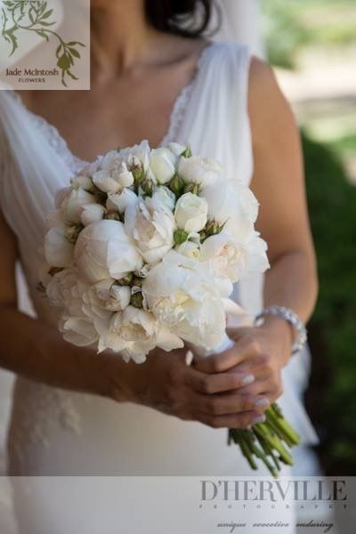 The Classic - white, rounded, soft posy of David Austen roses and Peonies. www.jademcintoshflowers.com.au www.tanyadhervillephotography.com