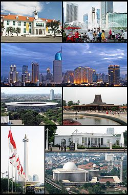 Jakarta, formerly Batavia, is the capital and largest city of Indonesia. Jakarta is the country's economic, cultural and political centre. It is the most populous city in Indonesia and in Southeast Asia, and is the thirteenth-largest city in the world. The urban area, Jabodetabek, is the second largest in the world. (From top, left to right): Jakarta Old Town, Hotel Indonesia Roundabout, Jakarta Skyline, Gelora Bung Karno Stadium, Taman Mini Indonesia Indah, Monumen Nasional, Merdeka Palace…