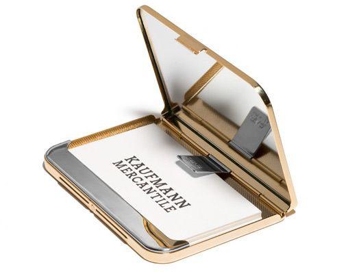 Satin-Finish Brass Business Card Holder - Kaufmann Mercantile