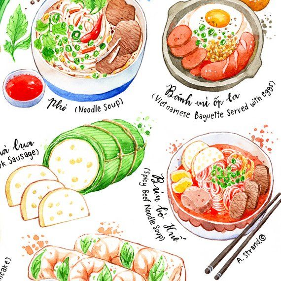 Vietnamese Cuisine Fine Art Print Kitchen Wall Art Food Etsy Food Food Print Watercolor Food