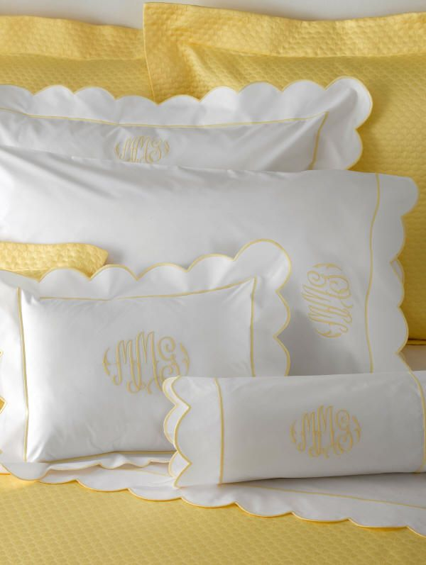 Matouk Bed Linens-Butterfield Scallop Sheets with yellow monogram to match