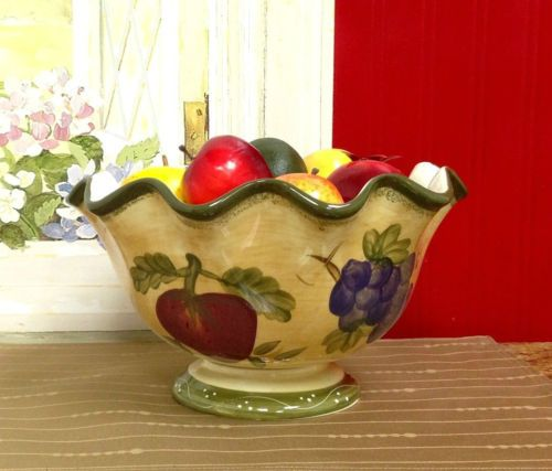 Tuscan-Deluxe-Hand-Painted-Fruit-Bowl-Table-Decoration-thanksgiving-Christmas
