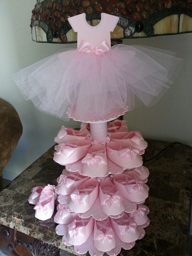 This unique centerpiece is perfect if youre looking for both shower favors and a centerpiece for your upcoming ballerina baby shower event. The stand has three tiers that can hold 25 pink shoe favors (included) if you need more shoe favors check out our listing for just the shoes. They come in a set of ten. Height of the stand with the dress topper is about 20 inches. the widest diameter of the stand at the bottom is 11 inches. Each shoe measures 3.5 inches in length. Fill them with…