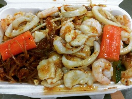 Vietnamese Korean dish. The vietnamese spot in food court has a Vietnamese-Korean fusion dish with clear noodles, seafood and kimchi. It is spicy and so goood!  www.mylanguageconnect.com