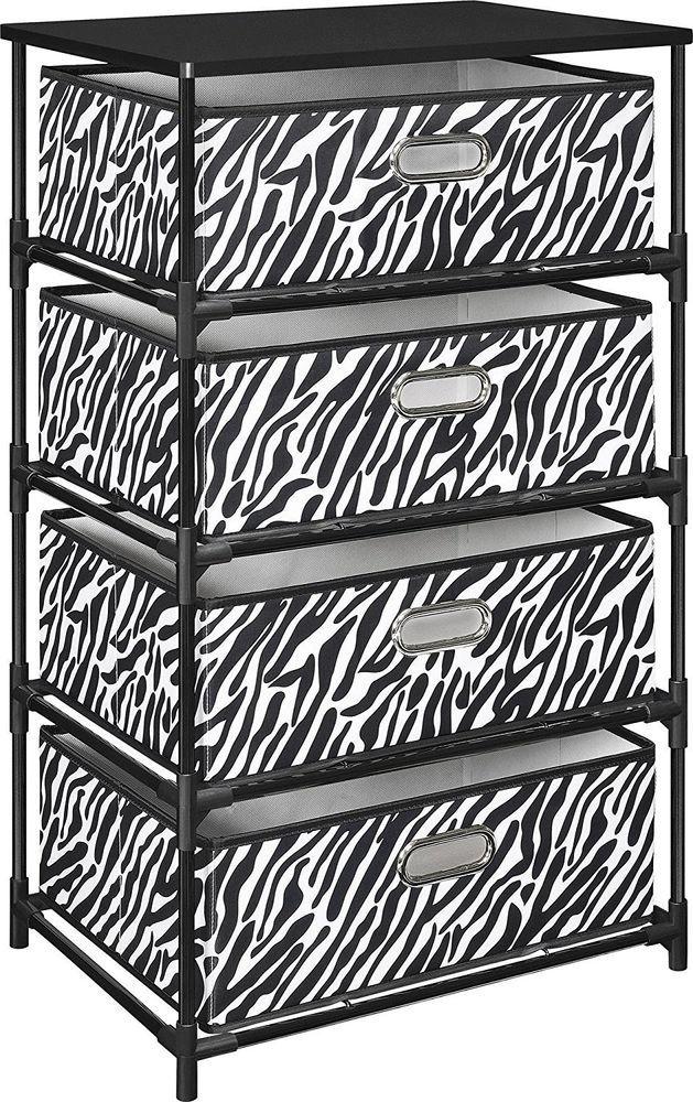Altra Furniture 4 Bin Closet Storage End Table Metal Frame Zebra Print Decor NEW #AltraFurniture