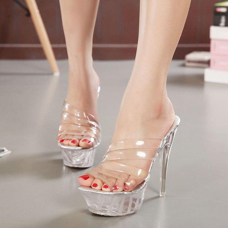 Ladies Summer Shoes Clear  High Heel