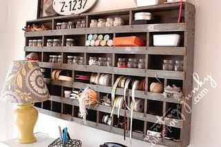 great link to fun craft room ideas using vintage finds