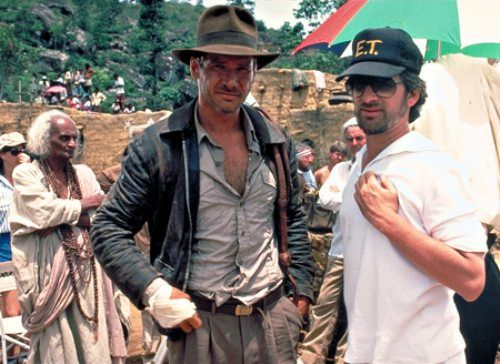 Steven Spielberg and Harrison Ford on the set of Indiana Jones and the Temple of Doom