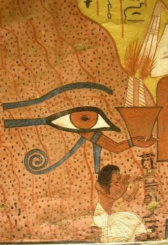 """La tombe de Pached à Deir el Medineh Détail, l'""""osiris Pached"""" prie, un oudjat tient un braséro."""
