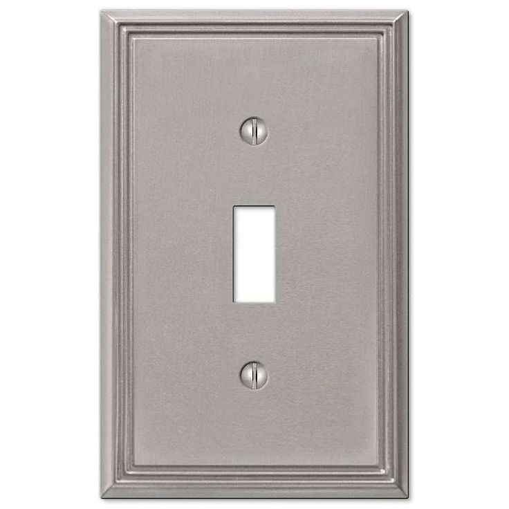 Metro line brushed nickel cover plates plates on wall