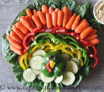 Turkey Veggie Platter - bet the kids would eat these veggies!