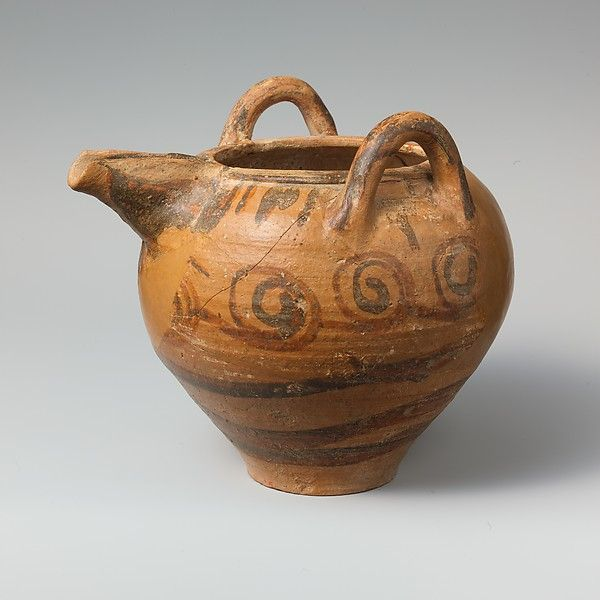 Period: Late Minoan I Date: ca. 1600–1450 B.C. Culture: Minoan Medium: Terracotta; Dark-on-light ware Dimensions: Total H. 7 1/4 in. (18.4 cm.) Classification: Vases Credit Line: Gift of American Exploration Society, 1907 Accession Number: 07.232.25