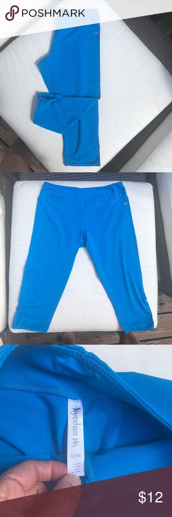 Electric blue crop yoga pant. - kyodan Great condition, electric blue calf length yoga pant. Cute keyhole detail on legs. Kyodan Pants Leggings