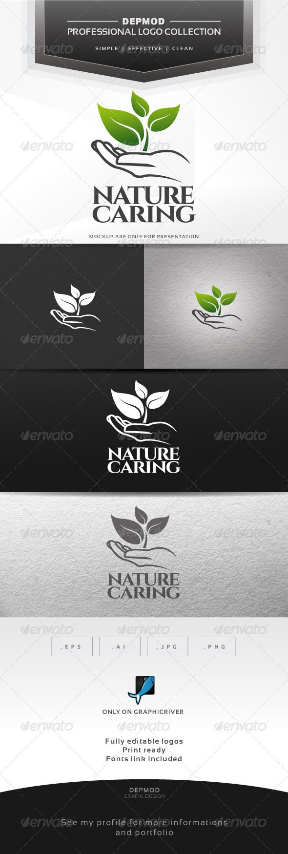 Nature Caring - Logo Design Template Vector #logotype Download it here: http://graphicriver.net/item/nature-caring-logo/6870498?s_rank=866?ref=nexion